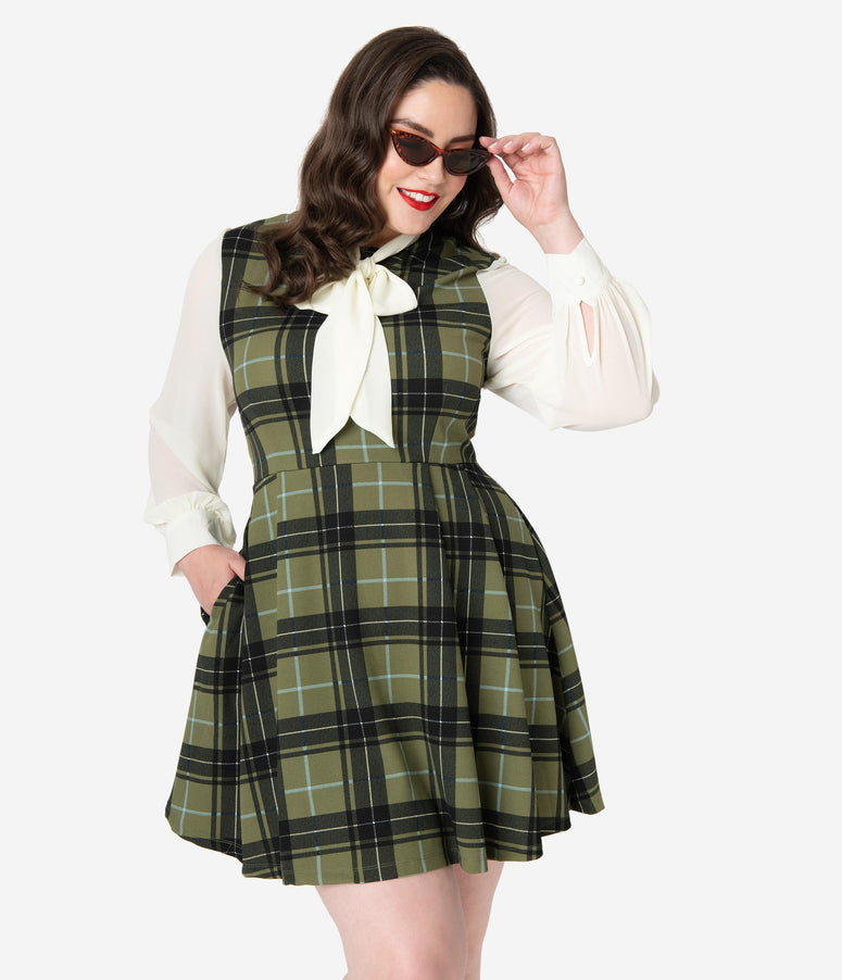 Smak Parlour Plus Size Hunter Green Plaid She.E.O. Fit & Flare Dress