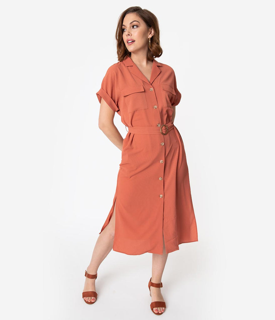 1940s Style Sienna Crepe Short Sleeve Shirtdress