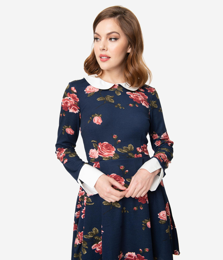 Smak Parlour Navy & Pink Floral Print New A-List Fit & Flare Dress