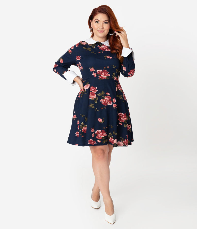 Smak Parlour Plus Size Navy & Pink Floral Print New A-List Fit & Flare Dress