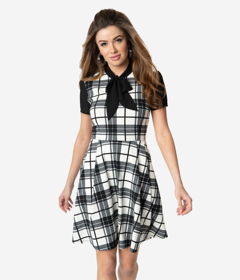 Smak Parlour 1960s Black & White Plaid Fit & Flare Dress