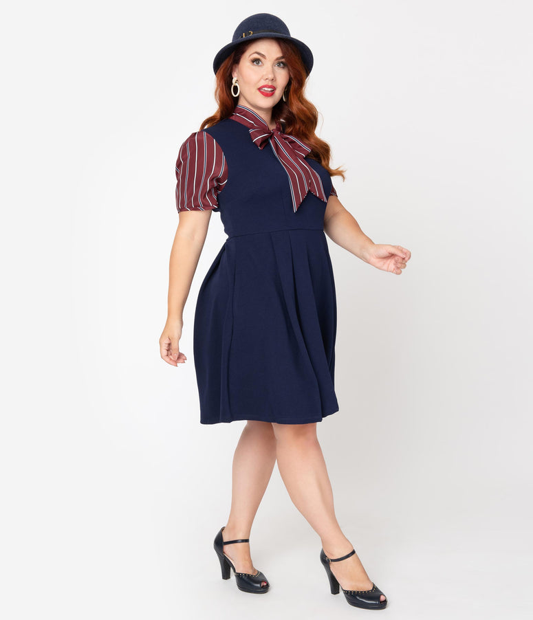 Smak Parlour Plus Size 1960s Navy Blue & Burgundy Stripe Sleeve Fit & Flare Dress