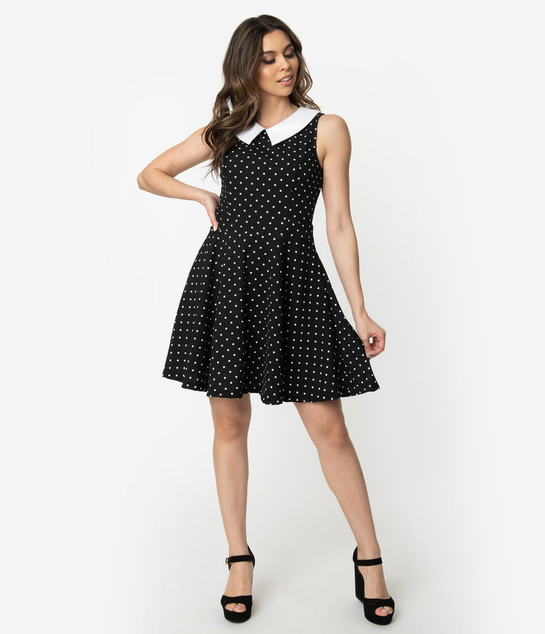 Smak Parlour Black & White Polka Dots Closing Night Fit & Flare Dress