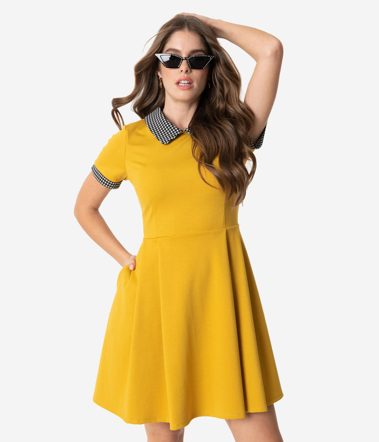 Smak Parlour Mustard Yellow Houndstooth Fit & Flare Dress