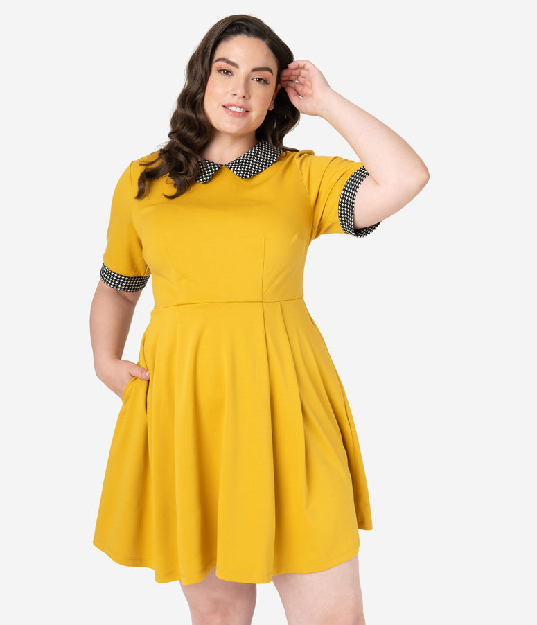 Smak Parlour Plus Size Mustard Yellow Houndstooth Babe Revolution Fit & Flare Dress