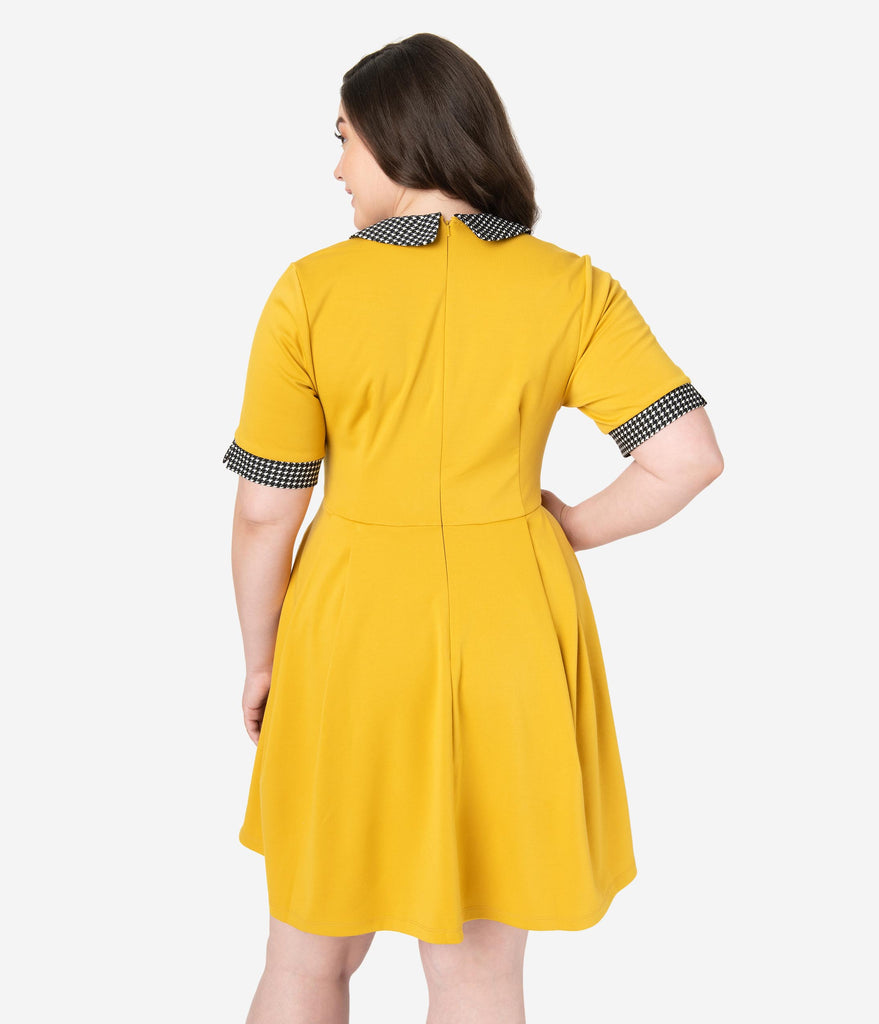 Smak Parlour Plus Size Mustard Yellow Houndstooth Fit & Flare Dress