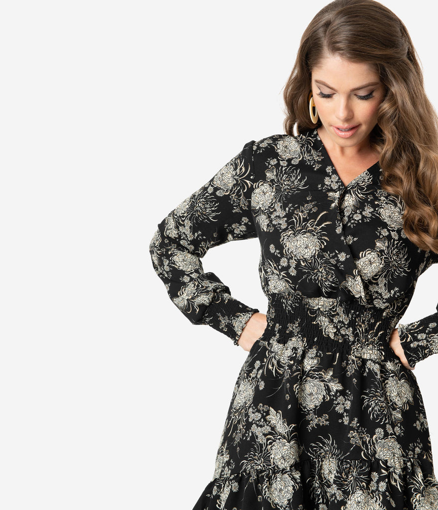 Smak Parlour Black & Gold Floral Print Savvy Scene Fit & Flare Dress