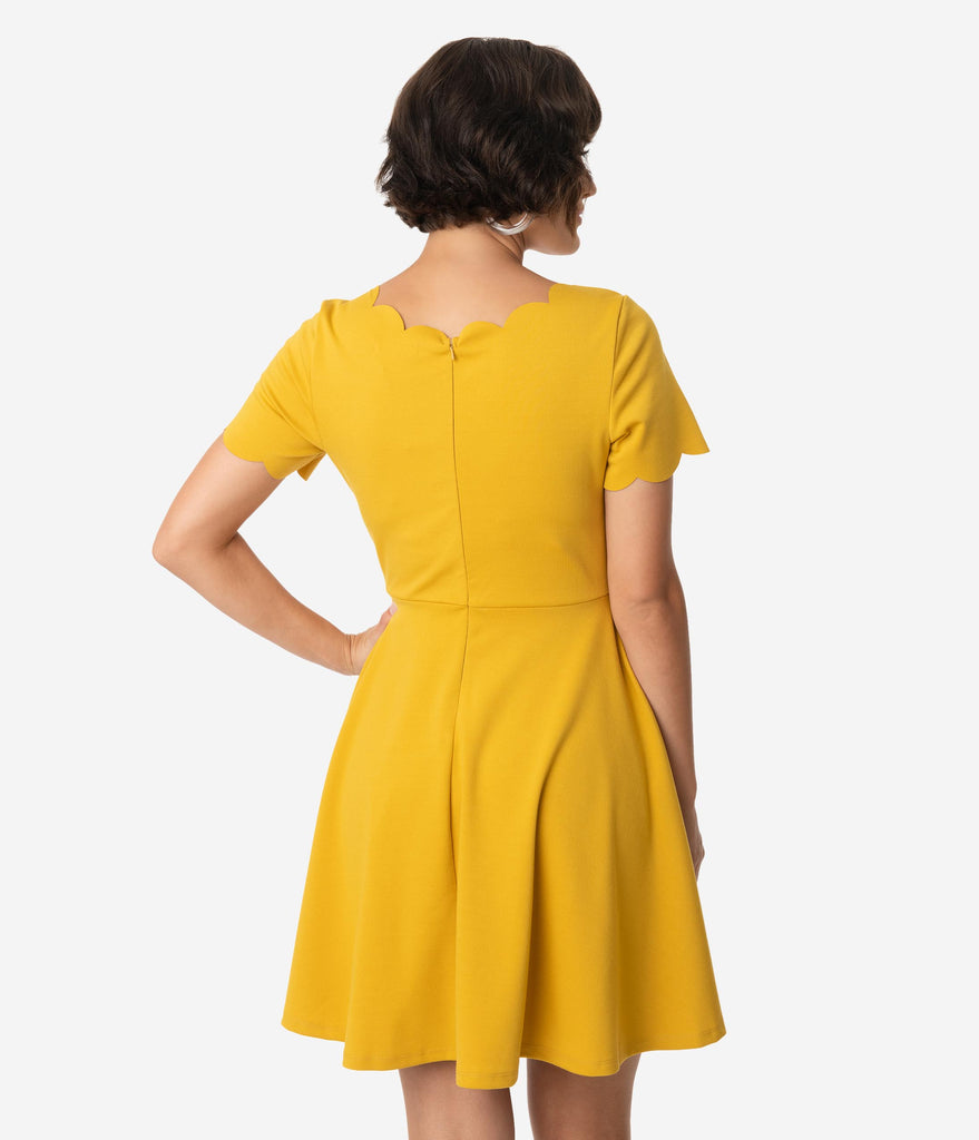Smak Parlour Mustard Short Sleeve Charmed Fit & Flare Dress