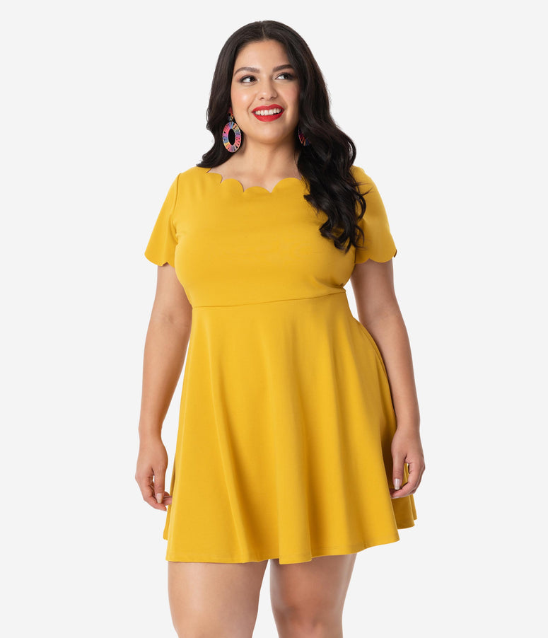 Smak Parlour Plus Size Mustard Short Sleeve Charmed Fit & Flare Dress