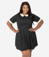 Plus Size Fit-and-Flare Fitted Pleated Polka Dots Print Short Sleeves Sleeves Collared Dress