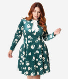 Smak Parlour Plus Size Green Velvet & Ivory Floral Print Bow Flare Dress
