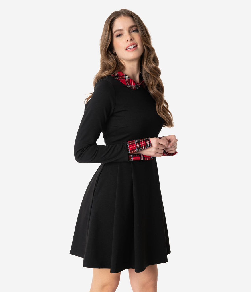 Smak Parlour Black & Red Plaid Collar Long Sleeve New A-List Fit & Flare Dress