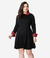 Plus Size Long Sleeves Pleated Back Zipper Fitted Pocketed Vintage Collared Fit-and-Flare Above the Knee Plaid Print Party Dress