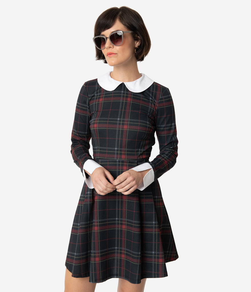 Smak Parlour Black & Red Plaid White Collar New A-List Fit & Flare Dress