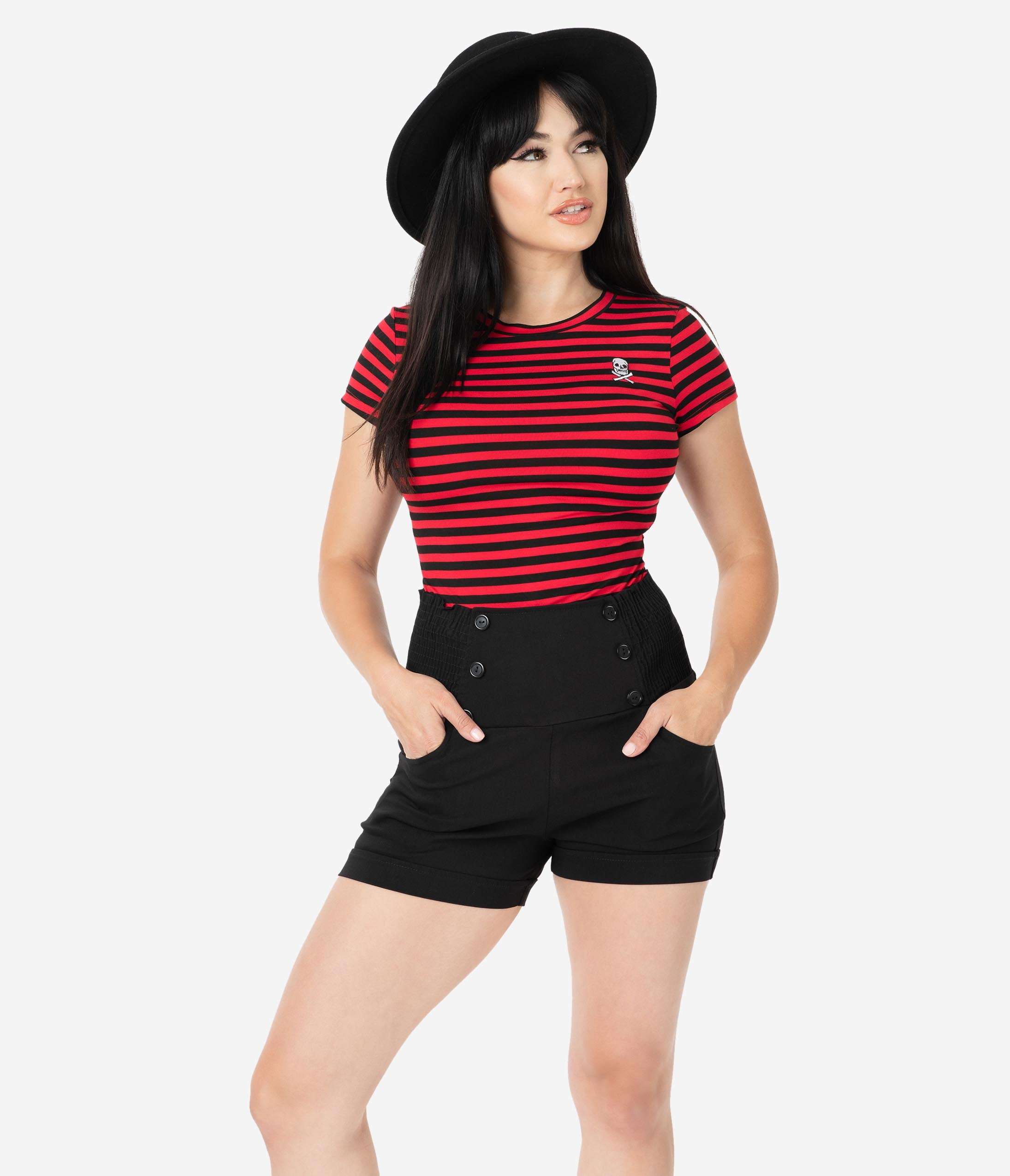 Pin Up Girl PRINT Brunette Wearing Navy Outfit Shorts Crop Top Hat High Heels