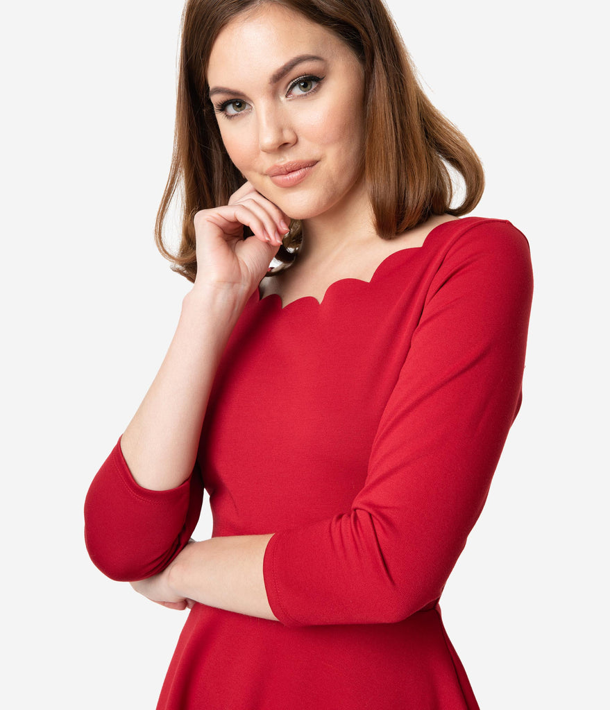 Smak Parlour Berry Red Three-Quarter Sleeve Charmed Fit & Flare Dress
