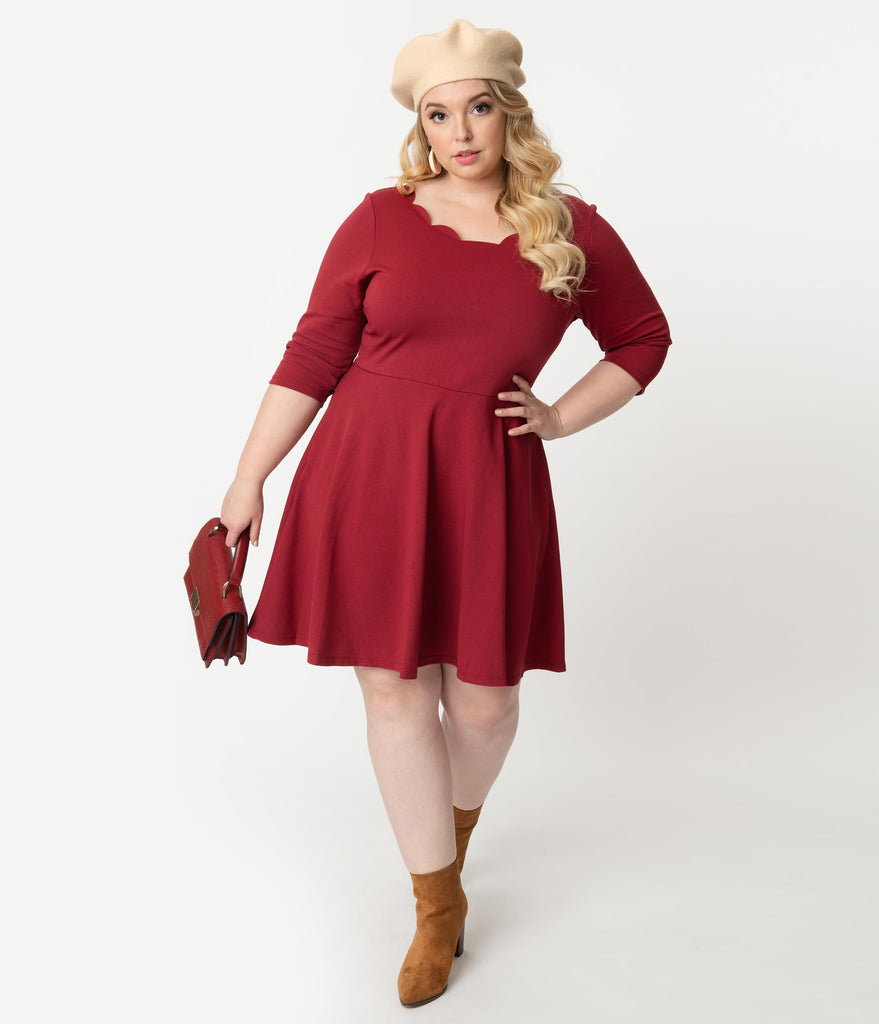Smak Parlour Plus Size Berry Red Three-Quarter Sleeve Charmed Fit & Flare Dress