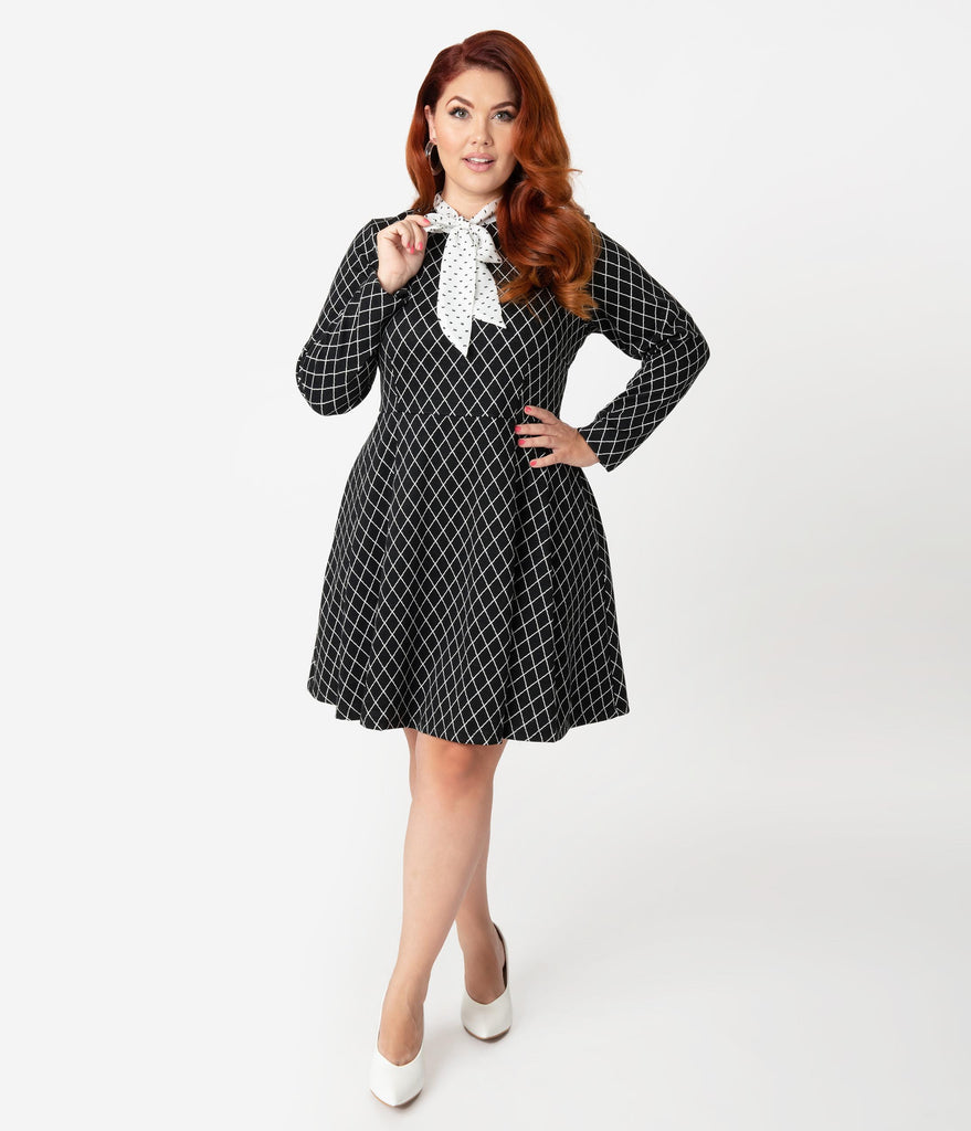 Smak Parlour Plus Size Black & White Diamond Dotted Bow Flare Dress
