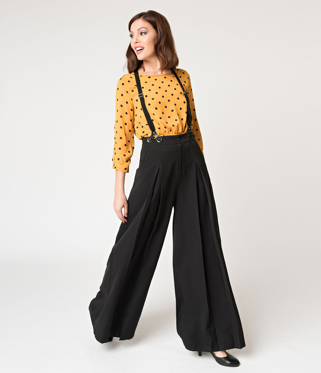 1940s Swing Pants & Sailor Trousers- Wide Leg, High Waist Voodoo Vixen Vintage Style Black Wide Leg Shelley Suspender Pants $62.00 AT vintagedancer.com