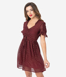Smak Parlour Burgundy & Gold Flock Dot Media Darling Fit & Flare Dress
