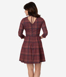 Smak Parlour Vintage Style Burgundy Red Plaid Frill Seeker Fit & Flare Dress