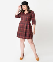 Plus Size V-neck Knit Fit-and-Flare 3/4 Sleeves Plaid Print Natural Waistline Pocketed Back Zipper Self Tie Vintage Fitted Pleated Dress