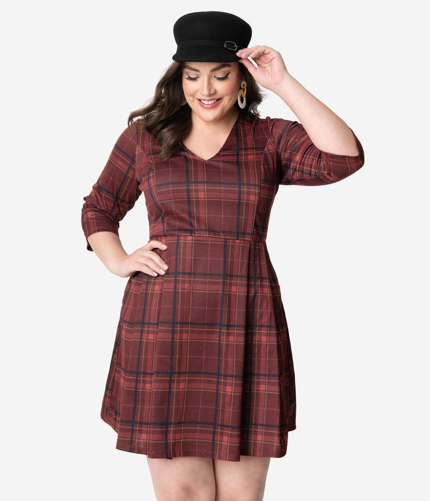 Smak Parlour Plus Size Vintage Style Burgundy Red Plaid Frill Seeker Fit & Flare Dress