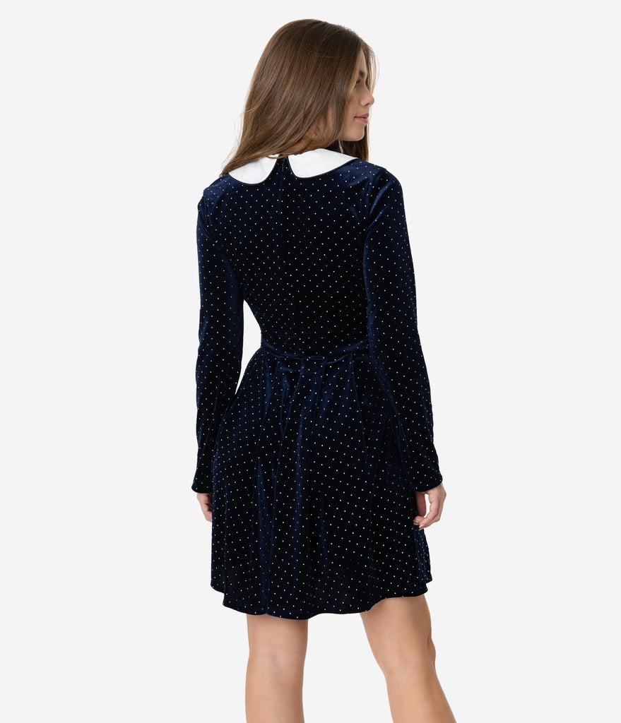 Smak Parlour Navy Velvet & Silver Pin Dot White Collar Jet Set Fit & Flare Dress