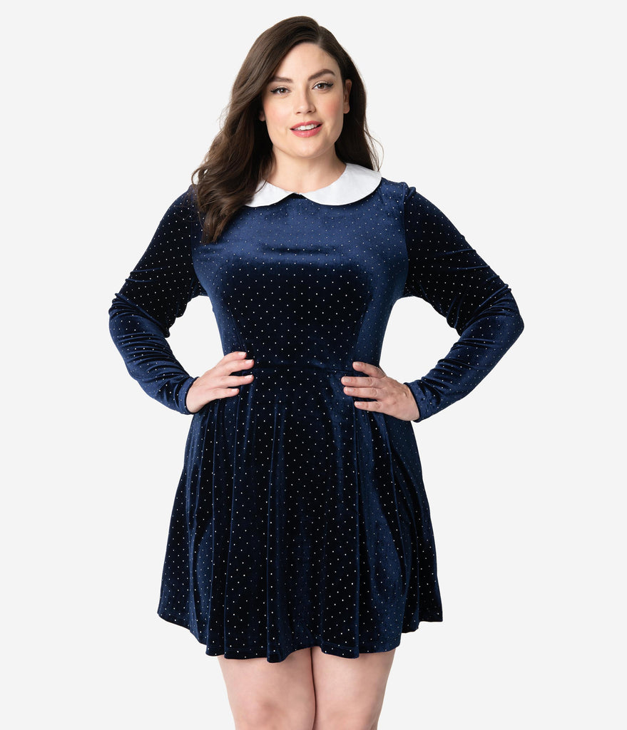 Smak Parlour Plus Size Navy Velvet & Silver Pin Dot White Collar Jet Set Fit & Flare Dress