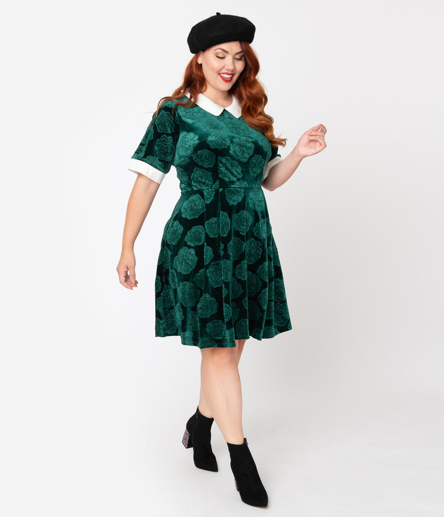 Smak Parlour Plus Size Green Velvet Floral Embossed Babe Revolution Fit & Flare Dress