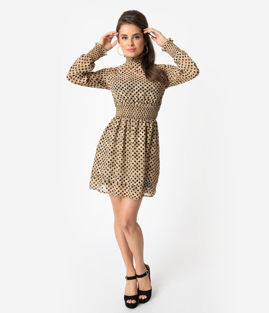 Smak Parlour Gold & Black Polka Dot Ruffle High Neck One In A Million Fit & Flare Dress