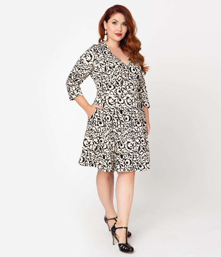 Smak Parlour Plus Size Cream & Black Velvet Pattern Frill Seeker Fit & Flare Dress