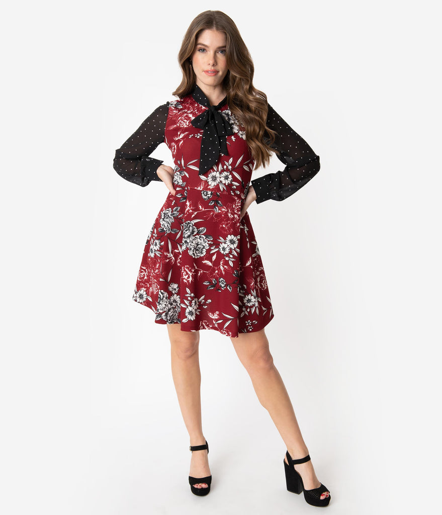 Smak Parlour Burgundy & Ivory Floral Print Pin Dot She.E.O. Fit & Flare Dress