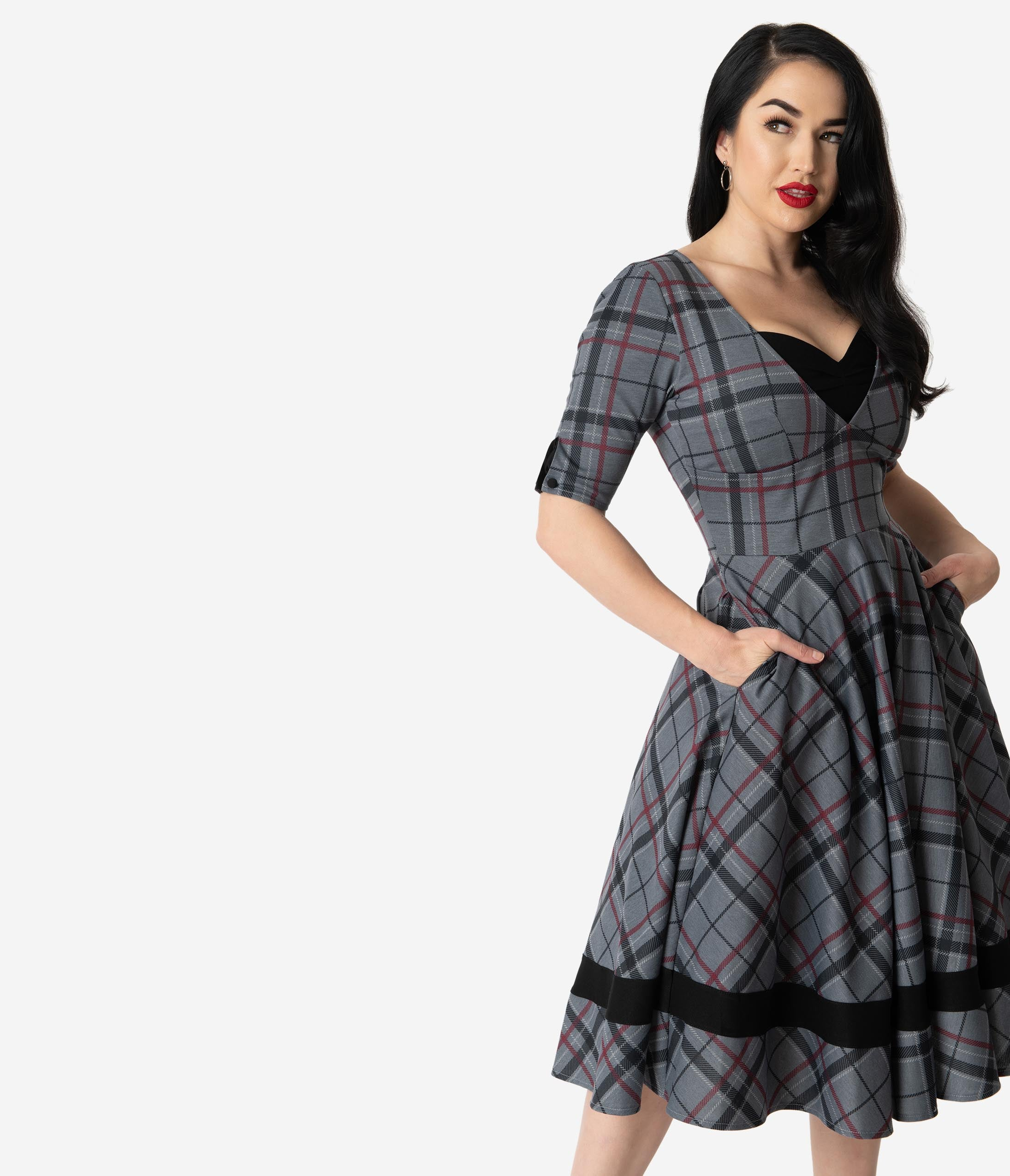 Fifties Dresses : 1950s Style Swing to Wiggle Dresses Unique Vintage 1950S Style Black  Grey Plaid Sleeved Serena Swing Dress $110.00 AT vintagedancer.com