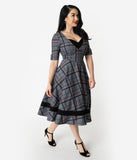 Unique Vintage 1950s Style Black & Grey Plaid Sleeved Serena Swing Dress