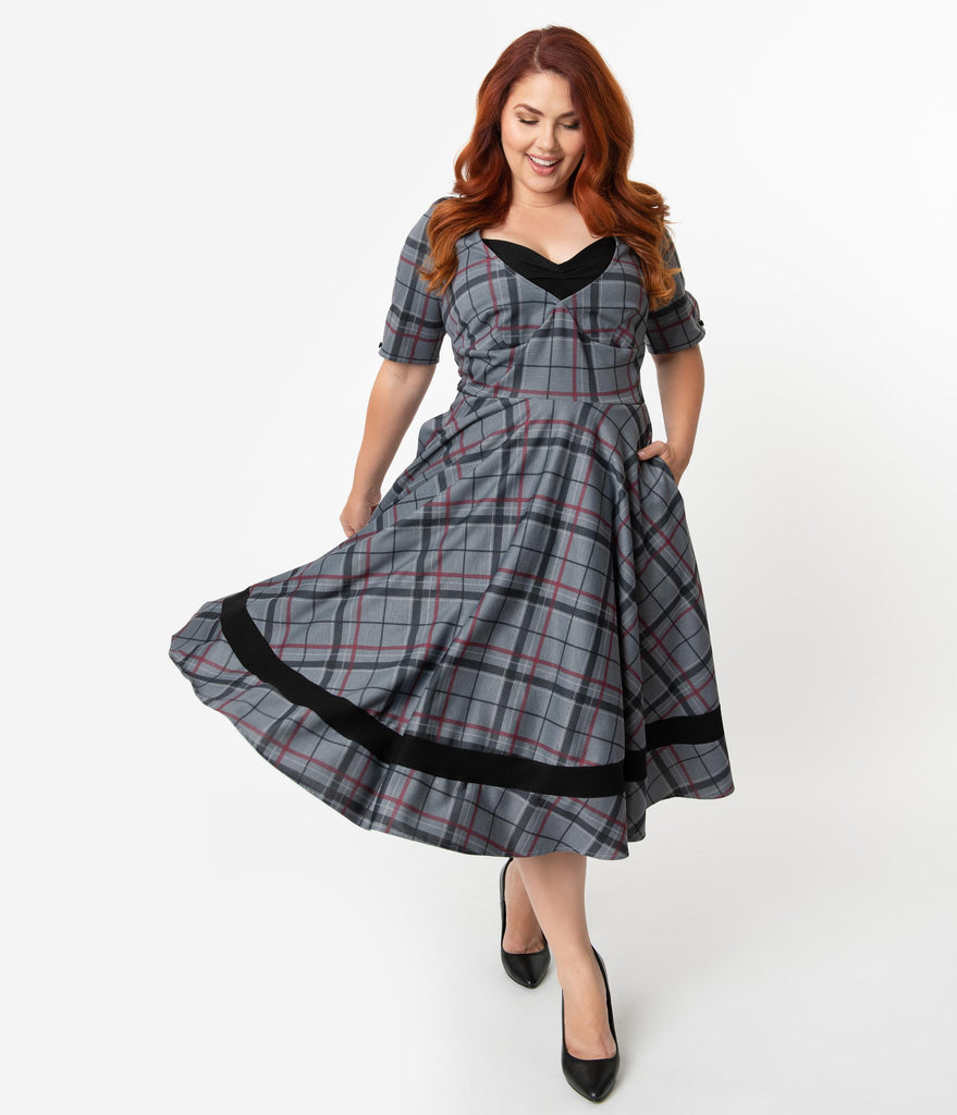Unique Vintage Plus Size 1950s Style Black & Grey Plaid Sleeved Serena Swing Dress