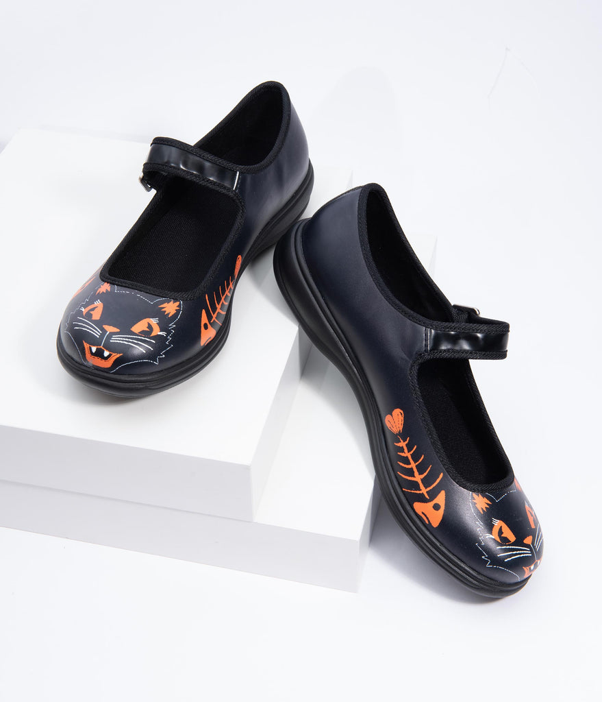 Black Leatherette Vintage Cat Mary Jane Shoes