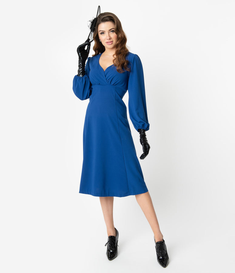 Micheline Pitt For Unique Vintage 1950s Style Royal Blue Pris Swing Dress