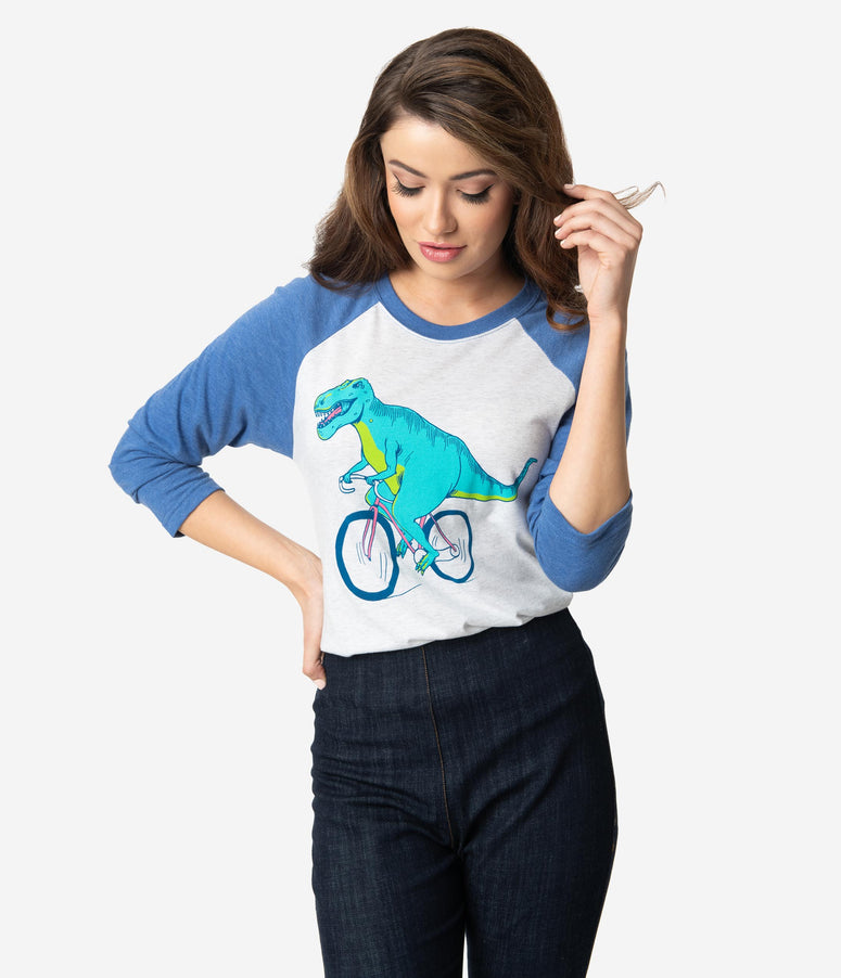 White & Blue T-Rex Bicycle Sleeved Top
