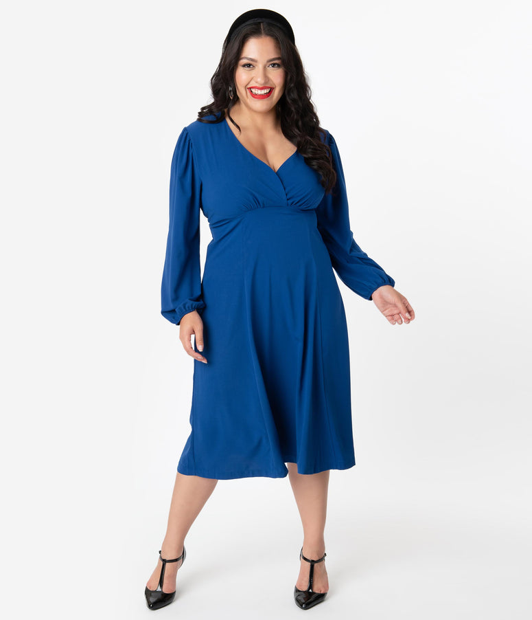 Micheline Pitt For Unique Vintage Plus Size 1950s Style Royal Blue Pris Swing Dress