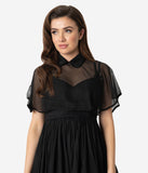 Unique Vintage Black Chiffon Collar Lois Capelet