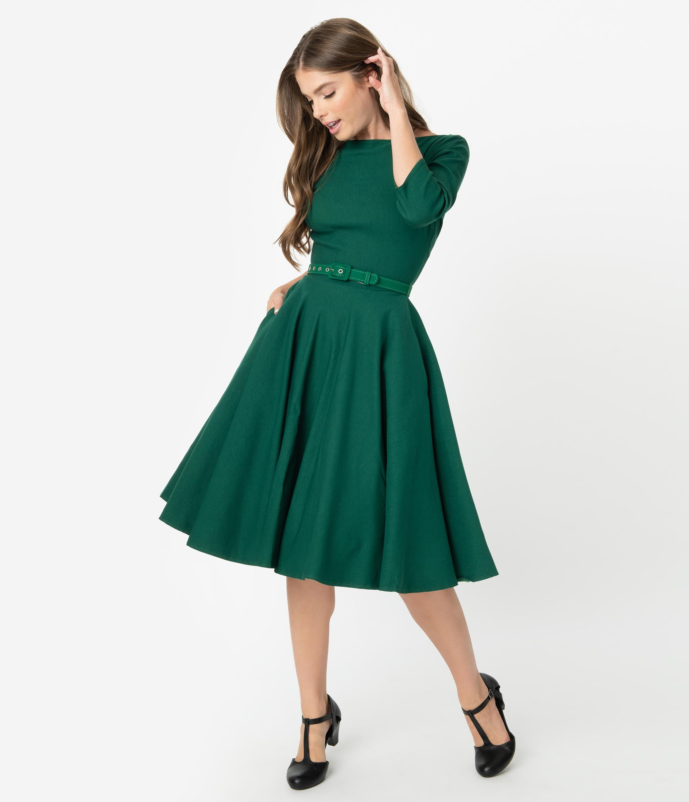 Vintage Christmas Gift Ideas for Women Unique Vintage 1950S Style Emerald Green Stretch Sleeved Devon Swing Dress $88.00 AT vintagedancer.com