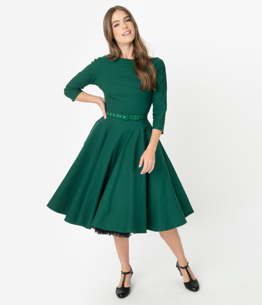 Unique Vintage 1950s Style Emerald Green Stretch Sleeved