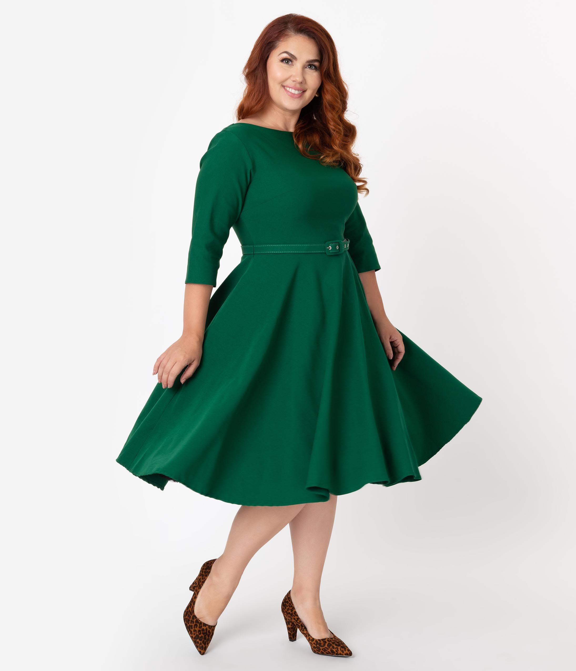 1950s Plus Size Dresses, Swing Dresses Unique Vintage Plus Size 1950S Style Emerald Green Stretch Sleeved Devon Swing Dress $88.00 AT vintagedancer.com