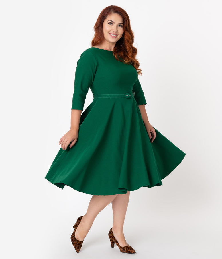 Unique Vintage Plus Size 1950s Style Emerald Green Stretch Sleeved Devon Swing Dress