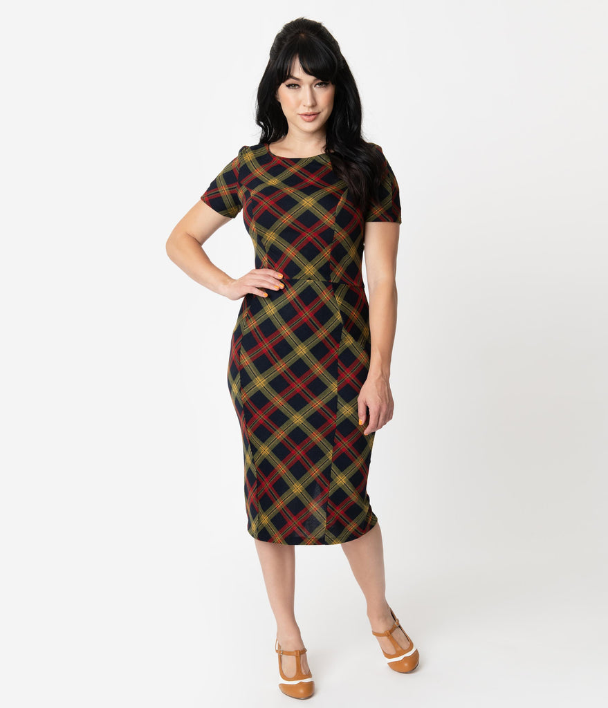 Unique Vintage 1960s Style Burgundy & Mustard Plaid Short Sleeve Mod Wiggle Dress