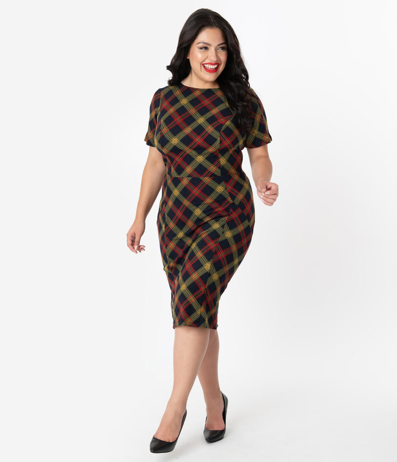 Unique Vintage Plus Size 1960s Style Burgundy & Mustard Plaid Short Sleeve Mod Wiggle Dress