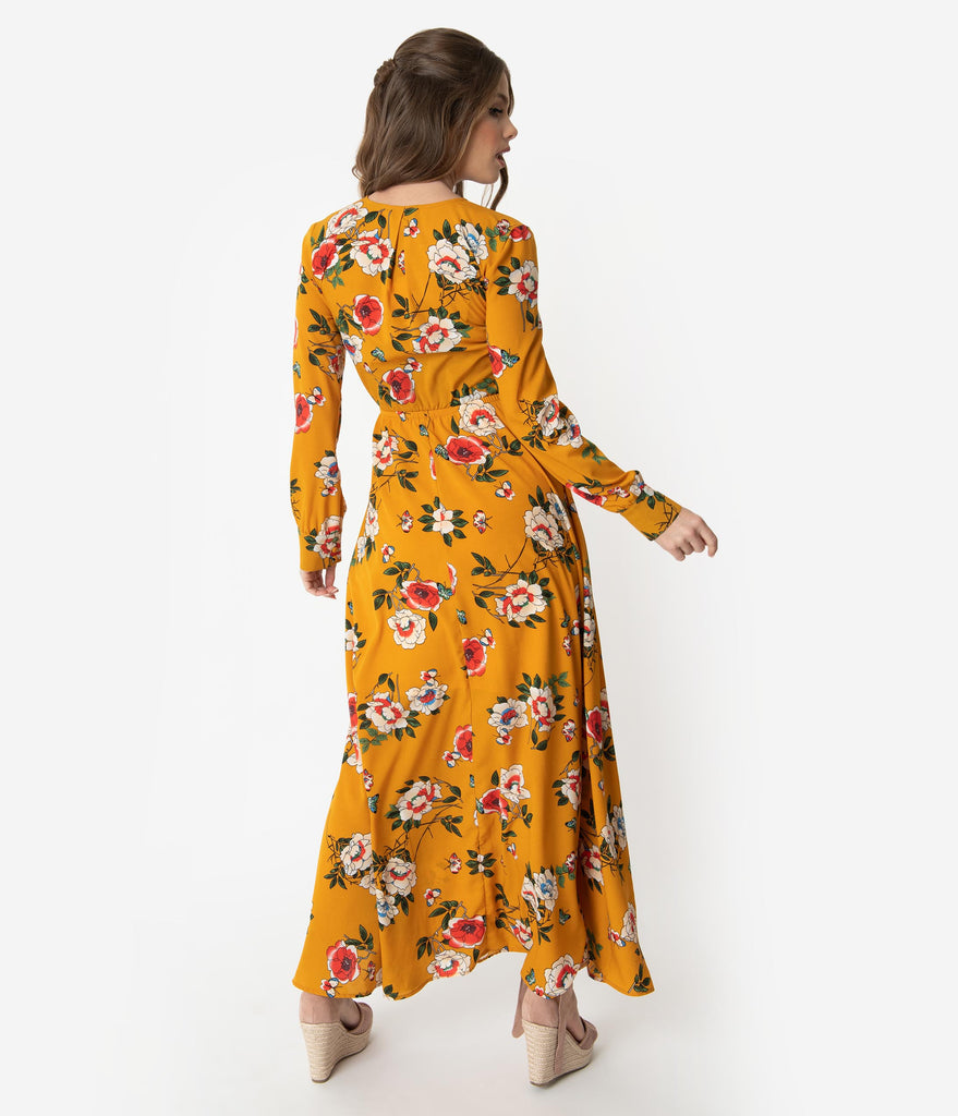 Unique Vintage Mustard & Multicolor Floral Long Sleeve Farrah Maxi Dress