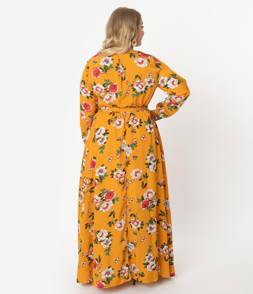 Unique Vintage Plus Size Mustard & Multicolor Floral Long Sleeve Farrah Maxi Dress