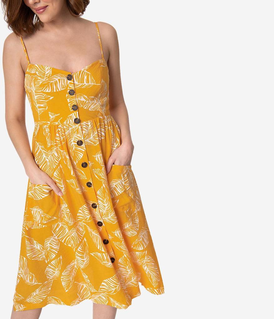 Yellow & White Tropical Palm Leaf Print Button Up Midi Day Dress